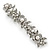 Bridal Wedding Prom Silver Tone Glass Pearl, Crystal Floral Barrette Hair Clip Grip - 90mm W - view 15