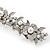 Bridal Wedding Prom Silver Tone Glass Pearl, Crystal Floral Barrette Hair Clip Grip - 90mm W - view 16