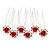Bridal/ Wedding/ Prom/ Party Set Of 6 Clear Austrian Crystal Red Rose Flower Hair Pins In Silver Tone