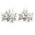 Bridal/ Wedding/ Prom/ Party Set Of 2 Rhodium Plated Clear Austrian Crystal Glass Pearl Floral Hair Pins - 70mm L - view 6
