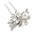 Bridal/ Wedding/ Prom/ Party Set Of 2 Rhodium Plated Clear Austrian Crystal Glass Pearl Floral Hair Pins - 70mm L - view 4