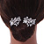 Bridal/ Wedding/ Prom/ Party Set Of 2 Rhodium Plated Clear Austrian Crystal Glass Pearl Floral Hair Pins - 70mm L - view 3