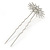 Bridal/ Wedding/ Prom/ Party Set Of 2 Rhodium Plated Clear Austrian Crystal Star Hair Pins - view 5
