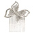 Bridal/ Prom/ Wedding/ Party Rhodium Plated Pave Set Clear Austrian Crystal Butterfly Side Hair Comb - 60mm W