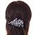 Rhodium Plated, Clear Cz Floral Barrette Hair Clip Grip - 105mm Across - view 2