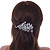 Rhodium Plated, Clear Cz Floral Barrette Hair Clip Grip - 105mm Across - view 8