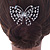 Bridal/ Prom/ Wedding/ Party Rhodium Plated Clear Austrian Crystal Open Butterfly Side Hair Comb - 70mm W - view 3