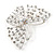 Bridal/ Prom/ Wedding/ Party Rhodium Plated Clear Austrian Crystal Open Butterfly Side Hair Comb - 70mm W - view 6