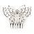Bridal/ Prom/ Wedding/ Party Rhodium Plated Clear Austrian Crystal Open Butterfly Side Hair Comb - 70mm W