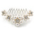 Medium Bridal/ Prom/ Wedding/ Party Rhodium Plated White Glass Pearl, Clear Austrian Crystal Side Hair Comb - 60mm - view 5