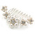 Medium Bridal/ Prom/ Wedding/ Party Rhodium Plated White Glass Pearl, Clear Austrian Crystal Side Hair Comb - 60mm - view 6