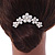 Medium Bridal/ Prom/ Wedding/ Party Rhodium Plated White Glass Pearl, Clear Austrian Crystal Side Hair Comb - 60mm - view 3