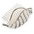 Clear Austrian Crystal, White Faux Pearl 'Leaf' Side Hair Comb In Rhodium Plating - 85mm