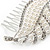 Clear Austrian Crystal, White Faux Pearl 'Leaf' Side Hair Comb In Rhodium Plating - 85mm - view 3