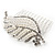 Clear Austrian Crystal, White Faux Pearl 'Leaf' Side Hair Comb In Rhodium Plating - 85mm - view 6