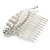 Clear Austrian Crystal, White Faux Pearl 'Leaf' Side Hair Comb In Rhodium Plating - 85mm - view 4