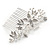 Bridal/ Wedding/ Prom/ Party Rhodium Plated Clear Austrian Crystal Glass Pearl Floral Side Hair Comb - 90mm - view 5