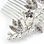 Bridal/ Wedding/ Prom/ Party Rhodium Plated Clear Austrian Crystal Glass Pearl Floral Side Hair Comb - 90mm - view 4