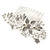 Bridal/ Wedding/ Prom/ Party Rhodium Plated Clear Austrian Crystal Glass Pearl Floral Side Hair Comb - 90mm - view 2