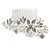 Bridal/ Wedding/ Prom/ Party Rhodium Plated Clear Austrian Crystal Glass Pearl Floral Side Hair Comb - 90mm - view 6