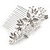 Bridal/ Wedding/ Prom/ Party Rhodium Plated Clear Austrian Crystal Glass Pearl Floral Side Hair Comb - 90mm - view 7