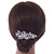 Bridal/ Wedding/ Prom/ Party Rhodium Plated Clear Austrian Crystal Glass Pearl Floral Side Hair Comb - 90mm - view 3