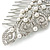 Statement Bridal/ Wedding/ Prom/ Party Rhodium Plated Clear Austrian Crystal, White Glass Pearl Sculptured 'Leaves' Side Hair Comb - 105mm Width - view 3