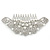 Statement Bridal/ Wedding/ Prom/ Party Rhodium Plated Clear Austrian Crystal, White Glass Pearl Sculptured 'Leaves' Side Hair Comb - 105mm Width - view 4