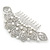 Statement Bridal/ Wedding/ Prom/ Party Rhodium Plated Clear Austrian Crystal, White Glass Pearl Sculptured 'Leaves' Side Hair Comb - 105mm Width - view 6