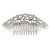Statement Bridal/ Wedding/ Prom/ Party Rhodium Plated Clear Austrian Crystal, White Glass Pearl Sculptured 'Leaves' Side Hair Comb - 105mm Width - view 7