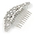 Statement Bridal/ Wedding/ Prom/ Party Rhodium Plated Clear Austrian Crystal, White Glass Pearl Sculptured 'Leaves' Side Hair Comb - 105mm Width - view 5