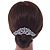 Statement Bridal/ Wedding/ Prom/ Party Rhodium Plated Clear Austrian Crystal, White Glass Pearl Sculptured 'Leaves' Side Hair Comb - 105mm Width - view 2