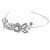 Statement Bridal/ Wedding/ Prom Rhodium Plated Clear Austrian Crystal Floral Tiara - view 4