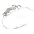 Statement Bridal/ Wedding/ Prom Rhodium Plated Clear Austrian Crystal Floral Tiara - view 5