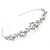 Bridal/ Wedding/ Prom Rhodium Plated Clear Crystal, White Glass Flowers & Leaves Tiara Headband