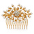Bridal/ Wedding/ Prom/ Party Gold Plated Cluster White Simulated Pearl Bead and Austrian Crystal Hair Comb - 70mm