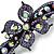 Bridal Wedding Prom Black Tone Lilac/ Purple Diamante Flower Barrette Hair Clip Grip - 95mm Across - view 3