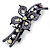 Bridal Wedding Prom Black Tone Lilac/ Purple Diamante Flower Barrette Hair Clip Grip - 95mm Across - view 8