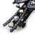 Bridal Wedding Prom Black Tone Lilac/ Purple Diamante Flower Barrette Hair Clip Grip - 95mm Across - view 7