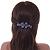 Bridal Wedding Prom Black Tone Lilac/ Purple Diamante Flower Barrette Hair Clip Grip - 95mm Across - view 10