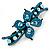 Bridal Wedding Prom Black Tone Teal/ Blue Diamante Flower Barrette Hair Clip Grip - 95mm Across