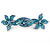 Bridal Wedding Prom Silver Tone Teal/ Blue Diamante 'Double Flower' Barrette Hair Clip Grip - 90mm Across - view 5