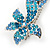 Bridal Wedding Prom Silver Tone Teal/ Blue Diamante 'Double Flower' Barrette Hair Clip Grip - 90mm Across - view 3
