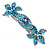 Bridal Wedding Prom Silver Tone Teal/ Blue Diamante 'Double Flower' Barrette Hair Clip Grip - 90mm Across - view 7