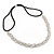 Wedding/ Bridal Clear Crystal, White Faux Glass Pearls Elastic Hair Band/ Elastic Band/ Headband - 59cm L (not stretched) - view 4