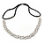 Wedding/ Bridal Clear Crystal, White Faux Glass Pearls Elastic Hair Band/ Elastic Band/ Headband - 59cm L (not stretched)