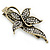 Vintage Inspired Clear Crystal Butterfly Hair Beak Clip/ Concord Clip/ Clamp Clip In Bronze Tone - 55mm L - view 5