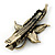 Vintage Inspired Clear Crystal Butterfly Hair Beak Clip/ Concord Clip/ Clamp Clip In Bronze Tone - 55mm L - view 4