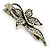 Vintage Inspired Clear Crystal Butterfly Hair Beak Clip/ Concord Clip/ Clamp Clip In Bronze Tone - 55mm L - view 3