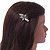 Vintage Inspired Clear Crystal Butterfly Hair Beak Clip/ Concord Clip/ Clamp Clip In Bronze Tone - 55mm L - view 2